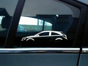 2x Car Silhouette Stickers For Opel Astra H Opc Mk5 Turbo