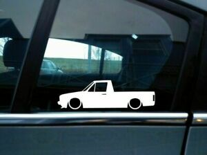 X2 Lowered Car Silhouette Stickers For Volkswagen Vw Caddy Mk1 Classic Pickup
