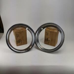 Vintage Classic 13 Ford Mustang Fairlane Trim Ring Style Hubcaps 2 Pcs