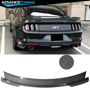 Fits 15 21 Ford Mustang Coupe Md Style Trunk Spoiler Wing Abs Carbon Fiber Print