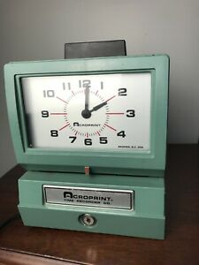 Acroprint 125qr4 Time Clock Time Recorder Machine With Key