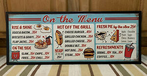 On The Menu Restaurant Diner Hot Dog Hamburger Grill Coke Vintage Style Food