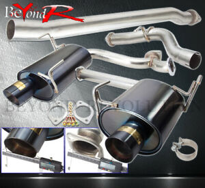 For 2008 2014 Subaru Wrx Sedan 4 Gunmetal Muffler Tip Catback Exhaust System