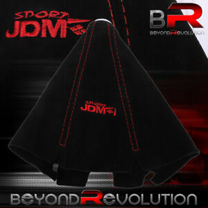 Shift Knob Shifter Boot Cover Black W Red Stitches Suede Interior M t A t Jdm