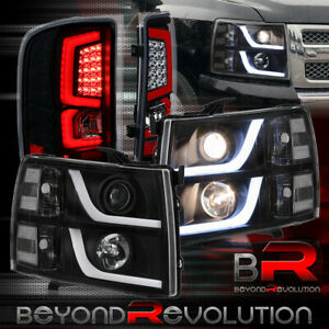 For 2007 2013 Chevy Silverado Brake Led Headlights Black Red Led Tail Light