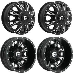 4x D513 M Blk Mil F R Dually Wheels 17 Blk Spline Lugs For Ford F350 05 19