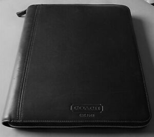 Coach Crosby Zip Executive Leather Business Organizer Document Portfolio Black