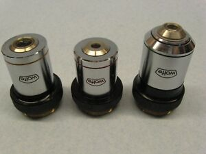 A Nice Set Of 3 Wolfe Microscope Objectives A Series made In Japan