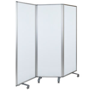 71 w X 72 12 h Mobile Magnetic Whiteboard Partition With Lockable Casters