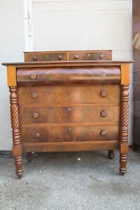 Antique Flame Front Mahogany Dresser