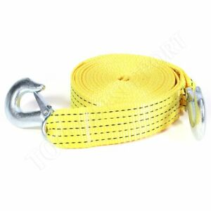 Tow Strap 2 X 20ft Winch Tree Saver Protector W Hooks Off Road Snatch Recovery