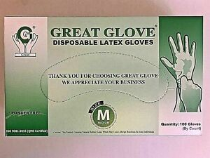 Latex Rubber Gloves Medium White Disposable Nitrile Powder Free Free S h
