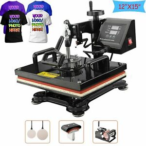 5 In 1 Digital Transfer Heat Press Machine T shirt Mug Hat Sublimation Combo Kit