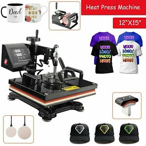 5 In 1 T shirt Printer Heat Press Machine Mug Coaster Hat Printing 12 x15
