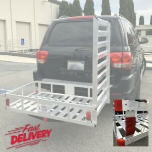 Aluminum Hitch Mount Cargo Carrier Long Ramp Transport Universal Durable Basket
