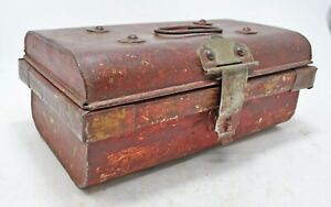 Antique Iron Small Storage Chest Trunk Box Original Old Hand Crafted