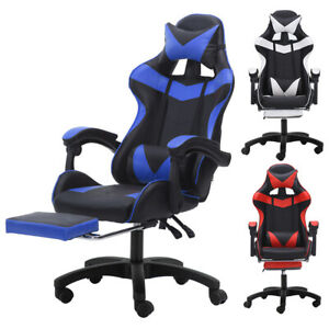 High Back Office Chair Heavy Duty Gaming Racing Computer Seat Swivel Footrest
