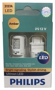 New Philips Ultinon Led 3157a Amber Exterior Car Light 2 Pc 3157aled