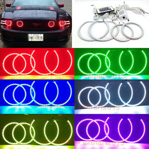 Rgb Halo Rings For Ford Mustang Gt 13 14 Projector Headlight Fog Light Lamp Drl
