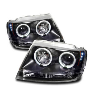 1999 2004 Jeep Grand Cherokee Black Front Halo Projector Led Drl Headlights Pair