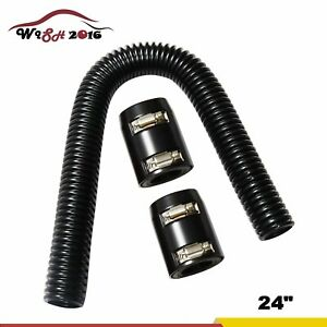 24 Black Stainless Steel Flexible Upper Lower Radiator Hose Chrome Caps Kit