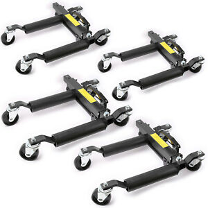 4x 1500lb Auto Hydraulic Positioning Jack Wheel Dolly Lift Mover Vehicle Car Suv