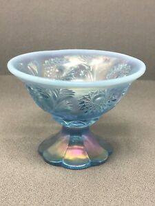 Vintage FENTON Opalescent Blue Carnival Sunburst Footed Candy Dish Compote