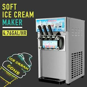 18l h Commercial Soft Serve Ice Cream Maker 3 Flavors Stainless Steel Ice Cream