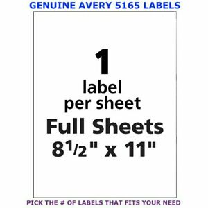 Avery Trueblock Laser Shipping Labels 8 5 X 11 5165 Pick Your Own Of Label