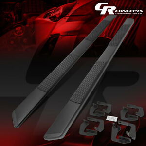 Pair 5 5 w Black Coated Running Boards For 2007 2021 Toyota Tundra Crewmax Cab