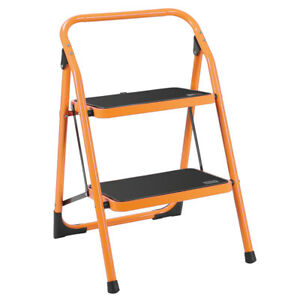 Practical 2 Step Ladder Portable Folding Step Stool Anti slip 330lbs Load Yellow