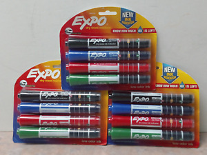 3 Pks Expo Dry Erase Markers W Ink Indicator Chisel Tip Assorted Colors New