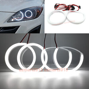 Cotton Led Halo Rings For Mazda 3 Projector 2010 13 Car Headlight Angel Eye Drl