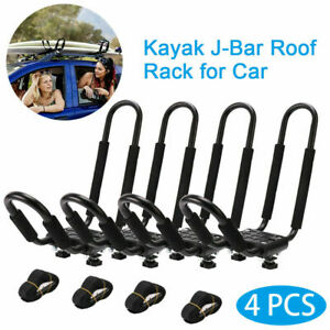 2 Pairs Canoe Boat Kayak Roof Rack Car Suv Truck Top Mount Carrier J Cross Bar
