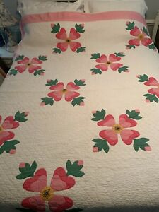 Vintage Circa 1930 1950 Appliqued Quilt Pink Green Yellow White Hand Quilted