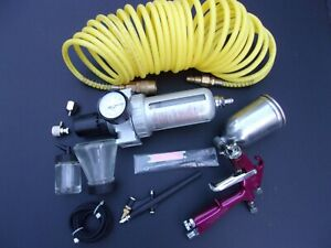 Airbrush And Touch Up Cup Spray Gun regulator separator hoses extras See Pics