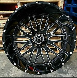24x12 Black Milled Hardcore Hc19 Vidar Offroad Rims Wheels 22 26 Inch 14 6x5 5