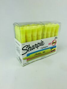 New 24 Count Sharpie Accent Yellow Highlighters With Chisel Tip Smear Guard