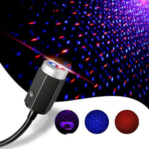 Usb Car Interior Blue Red Led Light Roof Starry Sky Lamp Star Projector Night