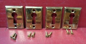 4 More Avail Nos Antique Vintage 1920 s Brass Keyhole Covers With Screws
