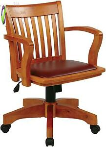Osp Home Furnishings Deluxe Wood Bankers Desk Chair With Brown Vinyl Padded Seat