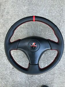 Toyota 3 Spoke Steering Wheel Red Stitching Red Suede Racing Stripe Supra Celica