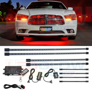 Ledglow 8pc Red Led Under Car Underglow Neon Glow Light Kit W Underdash Lights