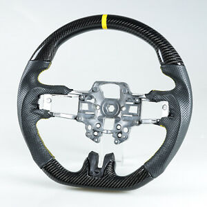 Carbon Fiber Leather Steering Wheel Yellow For Ford Mustang 2019 2020 Facelift