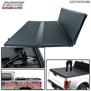 Tri Fold Solid Hard Tonneau Cover 8ft Long Bed Fit For 88 07 Silverado Sierra