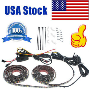 Pair 60 Universal Led Truck Bed Rail Cargo Light Kit On Off Switch For Pickup