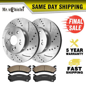 5 lug Front Drilled Slotted Brake Rotors ceramic Pads For 2013 2017 Honda Civic