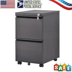 Mobile File Cabinet 2 Drawer Metal Filing Cabinet With Dual Key Locking System