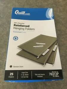 Box Of 26 Quill Brand Legal Size Reinforced Hanging Folders 1 3 Cut Tab Green