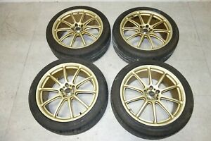 Jdm Prodrive Rims Wheels Tires Setup In Gold 18x7 5 47 5x100 Wrx Forester Subaru